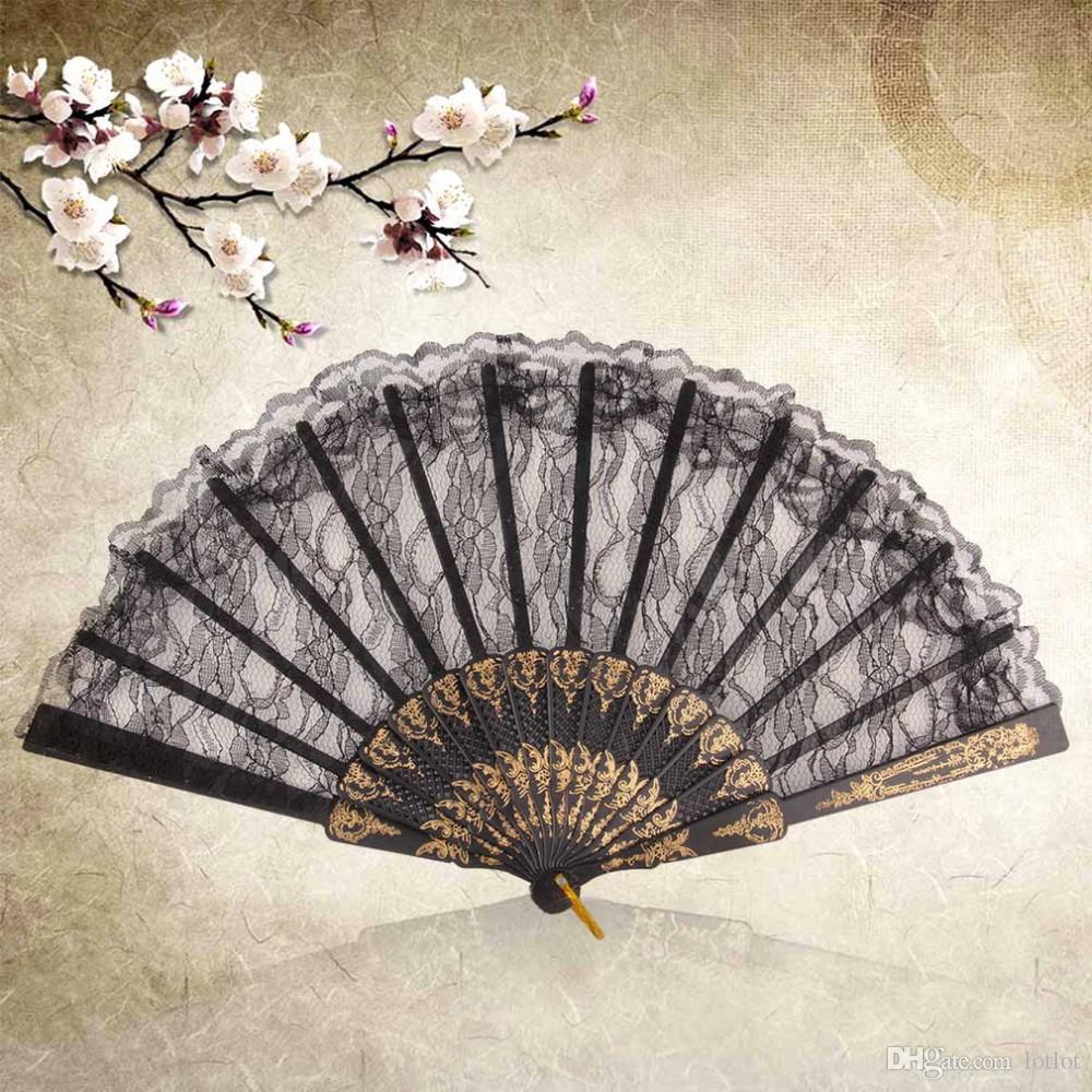 Traje de disfraces de época Fiesta de disfraces chinos Baile de la boda Plegable de encaje Mano Fan negro