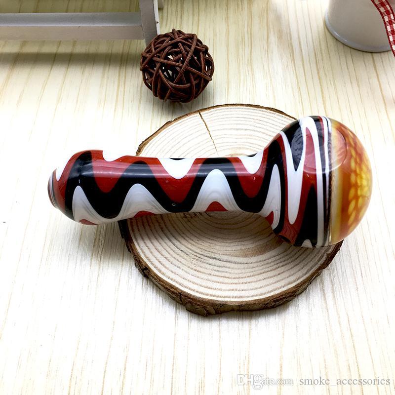4,3-дюймовый цветной откаты ложка трубы с сотовой чаши табака стеклянная труба для курения
