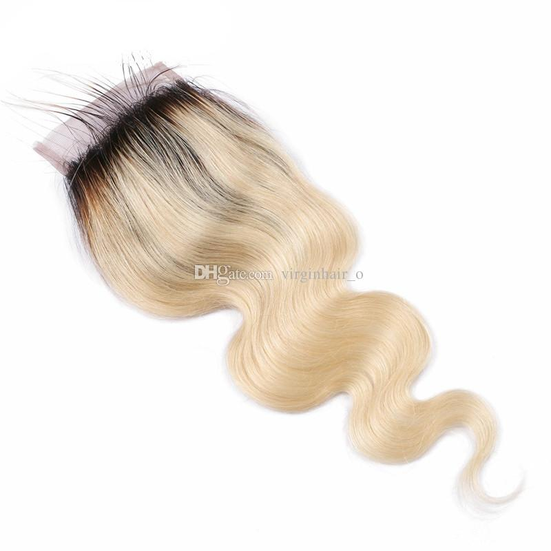 Ombre Blonde Hair Extensions With Closure 1B 613 Dark Root Ombre Virgin Brazilian Human Hair Bundles With 4x4 Lace Top Closure