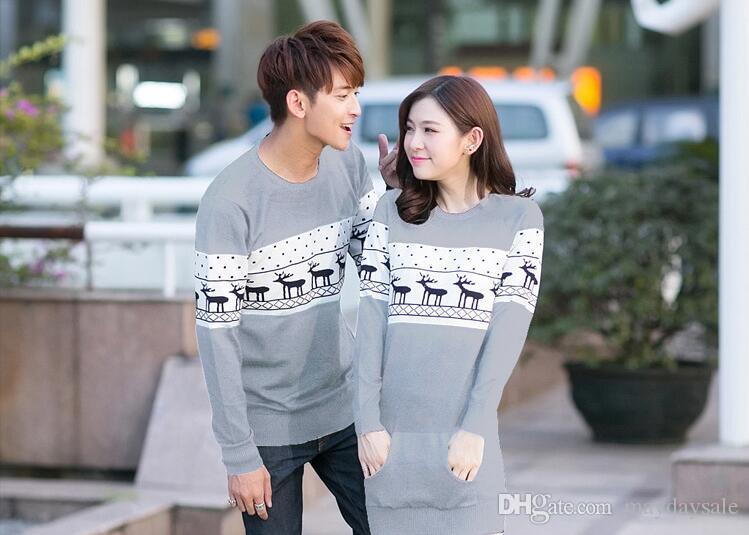379ed2b9d9 2019 2017 Autumn Christmas Sweater For Men And Women Couples Matching  Christmas Sweaters For Lovers Couple Christmas Deer Sweater From  Maydaysale, ...