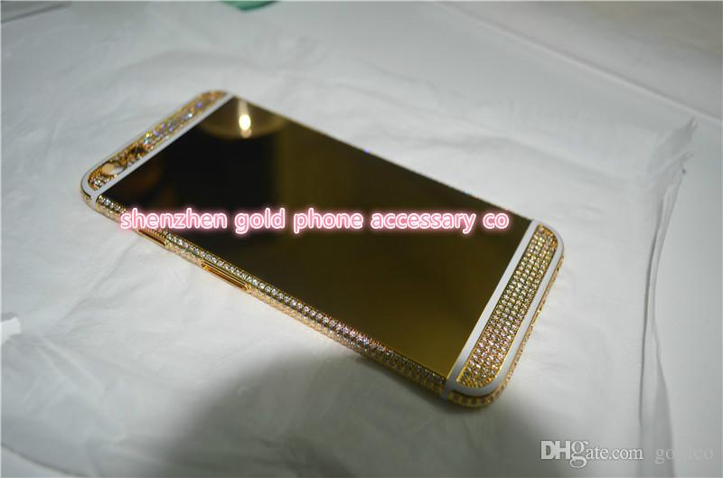 2018 real 24K gold partial DIAMOND crystal Plating Battery Back Housing Cover Skin for iPhone 6 24kt Limited golden crystal with deep