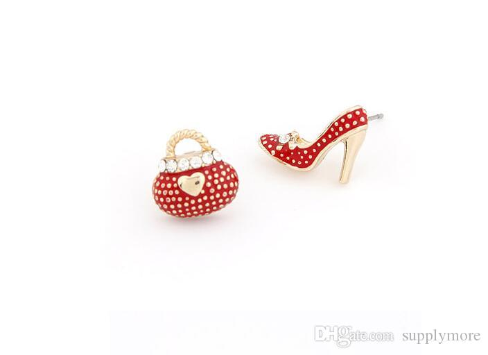 F&U Fine Korean fashion OL sweet personality high-heeled shoes bag asymmetric Earrings Stud