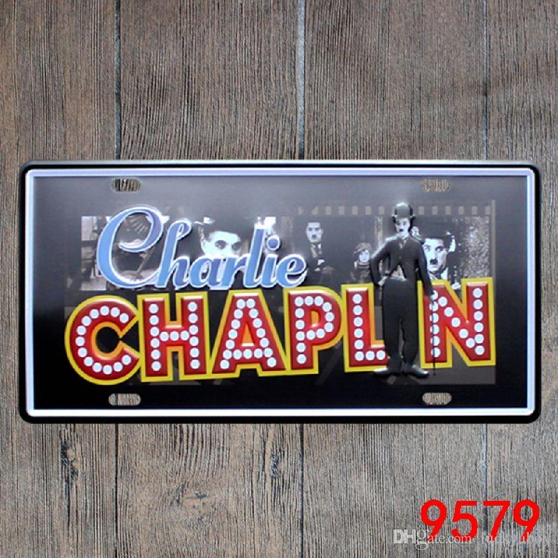 Chaplin Marilyn Monroe Audrey Hepburn Elvis vintage Nostalgia metal placa de lata lembrança placas de matrícula retro placa de metal