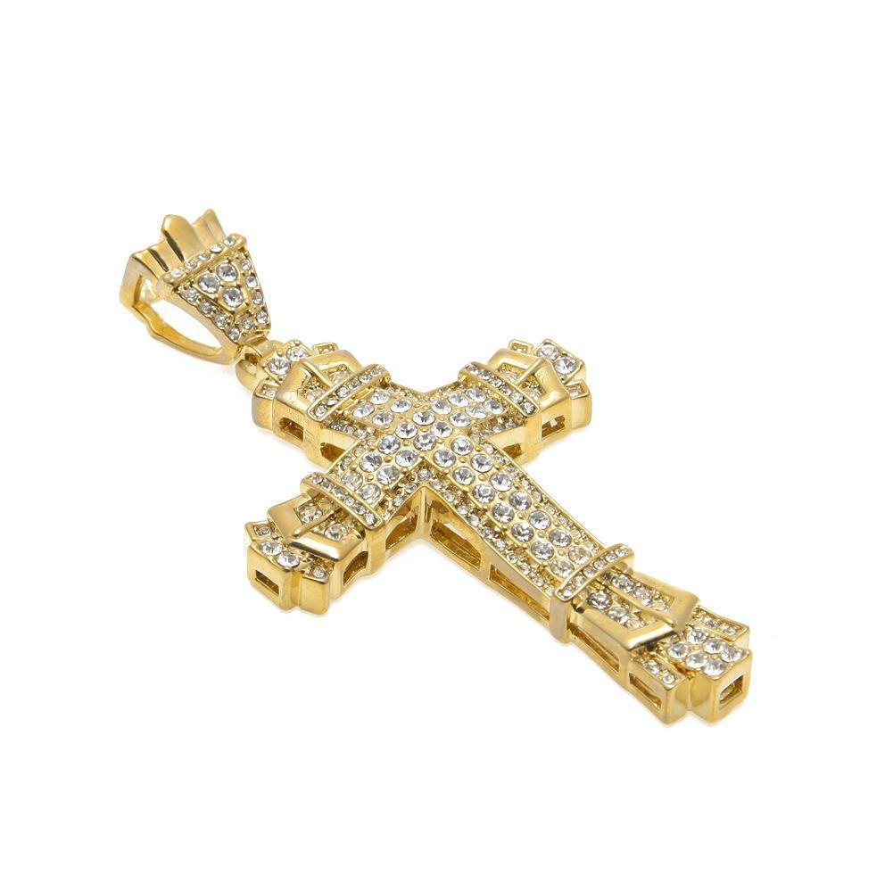 Monili all'ingrosso e al minuto degli uomini della lega di rame di Hip-Hop della catena a maglia di collegamento placcati dorati di cristallo del pendente del Rhinestone pieno