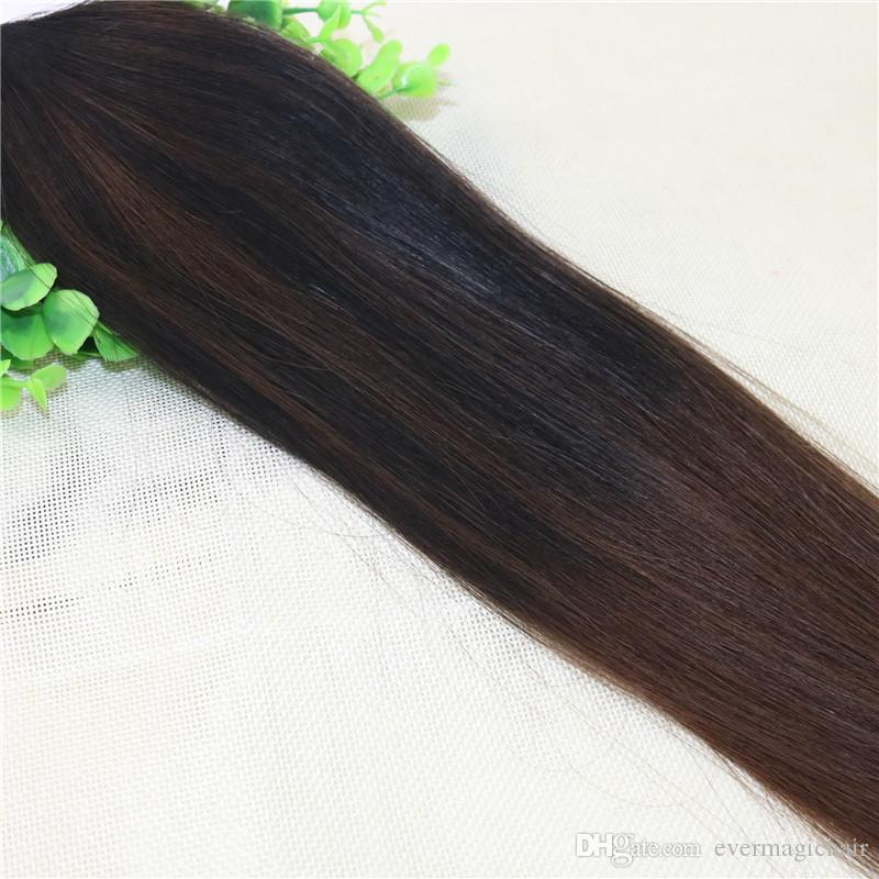 100Strands 100gPre-bonded Brazilian Remy Human Hair Extension I Stick tip Extension Balayage Ombre Dark Brown Highlight