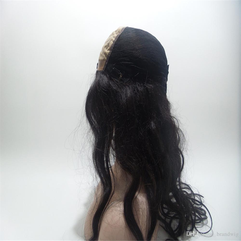Haute Seide Luxus Perücke Mode Kabell Glueless brasilianisches Menschenhaar 100% volle Spitze-Perücke yaki gerade volle Spitze Perücke Jungfrau mit Baby Farbe 1B #