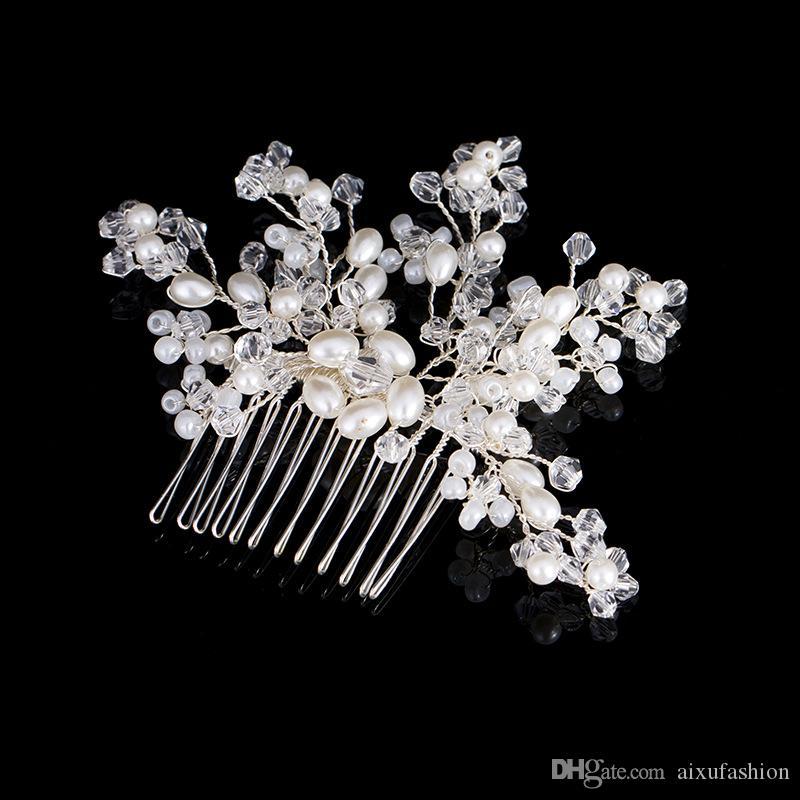 Nupcial Tiara Peinetas de Pelo 2017 Nueva perla Accesorios de Pelo Nupcial de Cristal Cabellos para Las Mujeres Hecho A Mano Joyería Del Pelo de La Boda Headwear