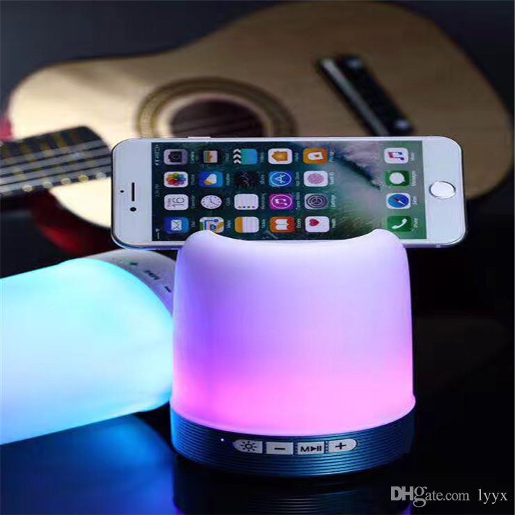 Bluetooth Stand Speakers Q6 LED Light Wireless Portable Stereo Speaker with Mic Phone Tablet Holder for Office Home Bedroom Kitchen Indoor