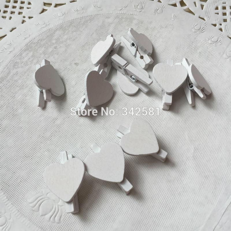 White mini wooden pegs Mini wooden love heart clips Wedding place name holders escort card holder White party decorations