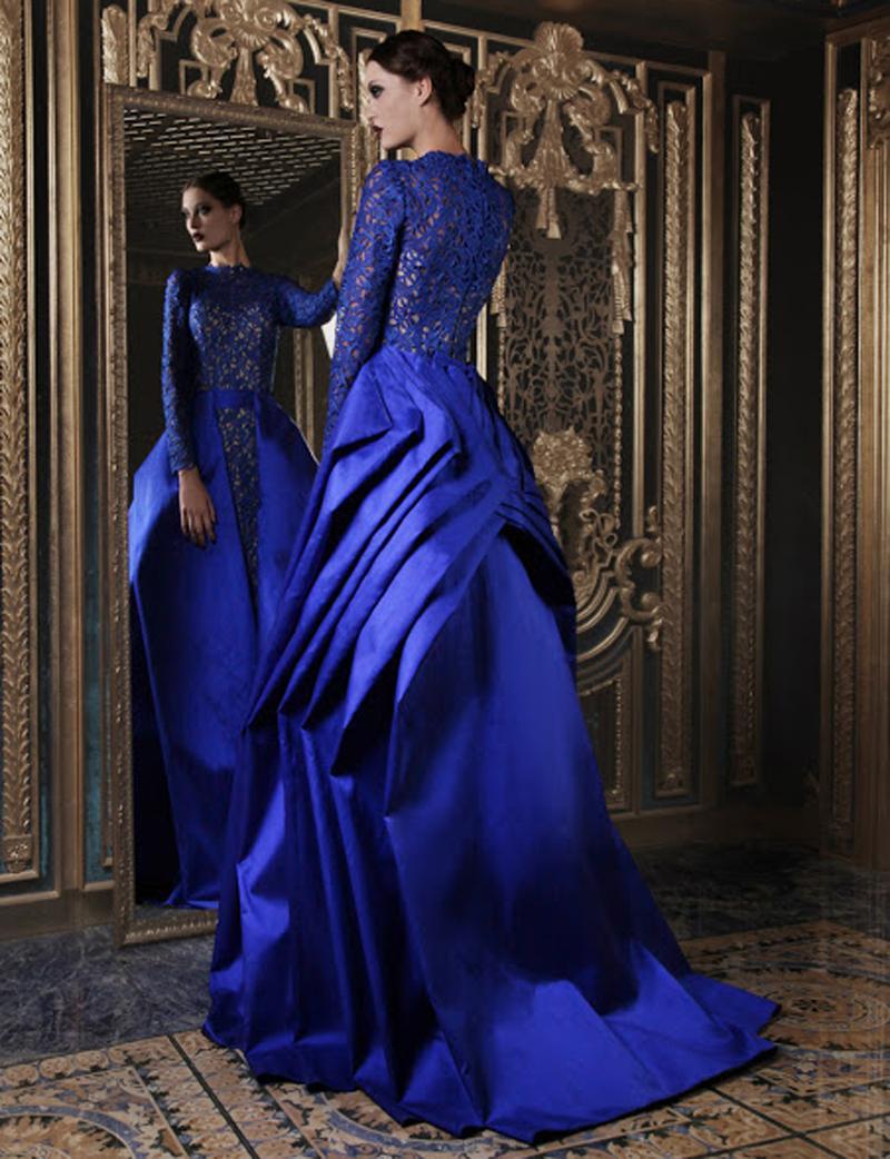 2017 vestidos de boda del cordón del azul real con los vestidos de boda musulmanes del neckline del alto vestido de las faldas del overskirt del satén del vestido de bola