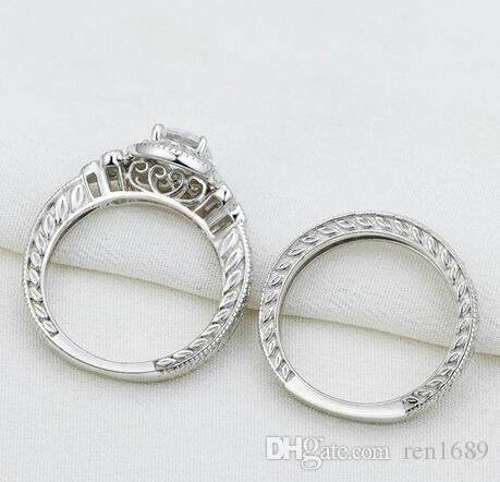 Fine New Vintage Jewelry Round Cut 925 Sterling Silver White Topaz CZ Diamond Gemstones Wedding Engagement Bridal Ring Set Gift