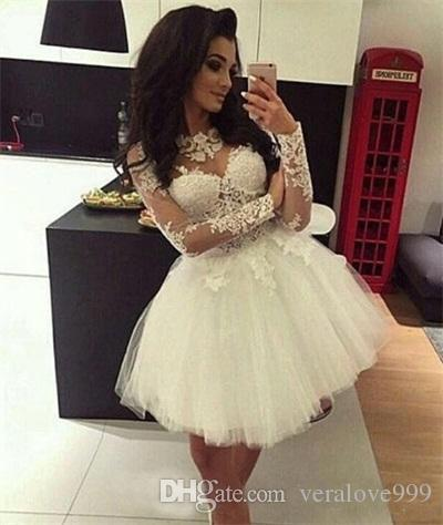 Custom Ball Gown Homecoming Dresses Long Sleeves Sheer Neck Sweet 16 Dresses Pageant Prom Dresses Mini Short Graduation Dress