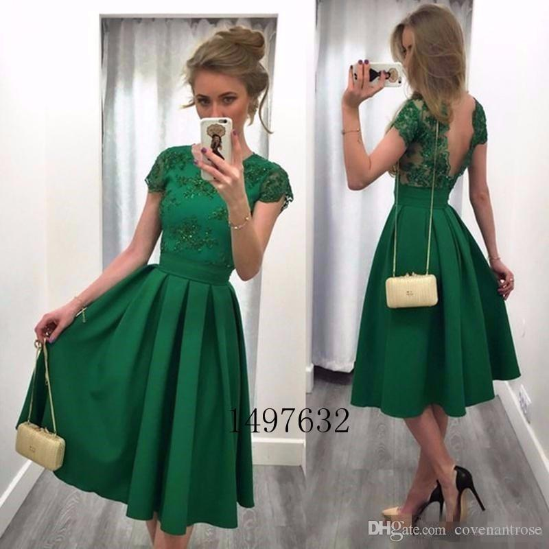 Elegant Green Cocktail Dresses 2017 Cap Sleeve Backless Knee Length