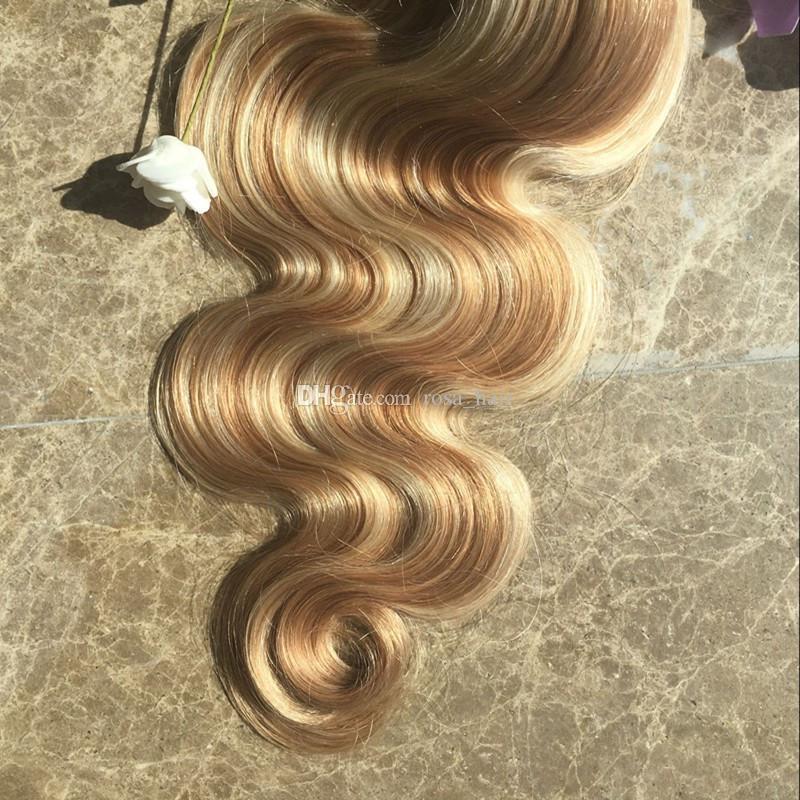 9A Blonde Highlights Indian Human Hair Body Wave Piano Color #27 613 3 Bundles Ombre Virgin Human Hair Weaves No Tangle No Shedding
