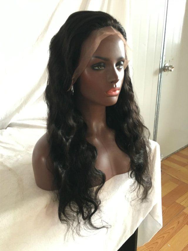 130% moyenne densité de dentelle brune moyenne pleine de dentelle vierge perruque de cheveux pour les femmes noires avant perruque avant de perruque
