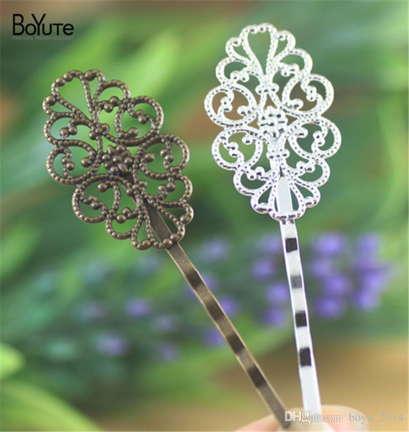BoYuTe 20*30MM HOT Sale Filigree Flower Hair Clip Plated Fashion Women Hair Accessories