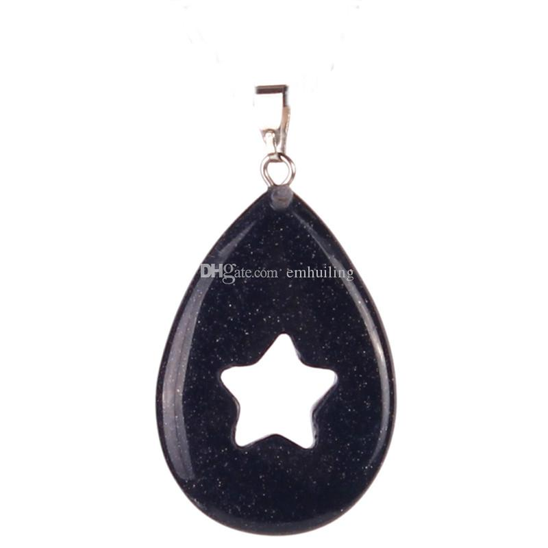 Amulet Magic Water Drop Hollow Out Five Pointed Super Star Mix Random Crystal Dalmaiton Jasper Blue Goldstone Good Luck Pendant for Necklace