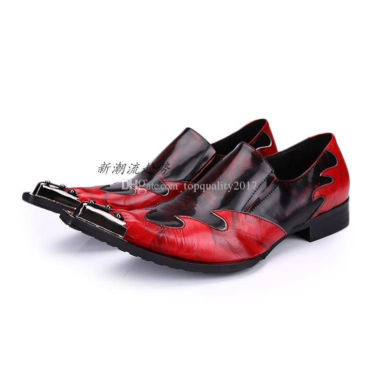 Designer Patchwork Men Genuine Leather Red Wedding Shoes Mens Oxford Dress Shoes Pointed Toe Flats Oxfords Chaussure Homme