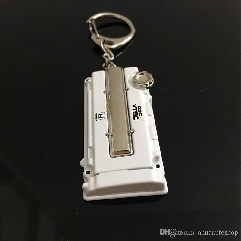 2016 Zinc alloy Racing Car Keychain Auto Parts Modified Keyring Engine key chain for Honda EK/EG Engine Valve Cover Chaveiro Llavero Key Pen
