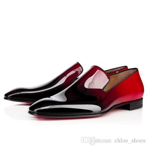 2017 Marque Rouge Bas Appartements De Pissenlit Noir En Cuir Verni Robe Chaussures Haute Qualité Chaussure Femme Hommes Chaussures Robe Mocassins Chaussures Taille 46