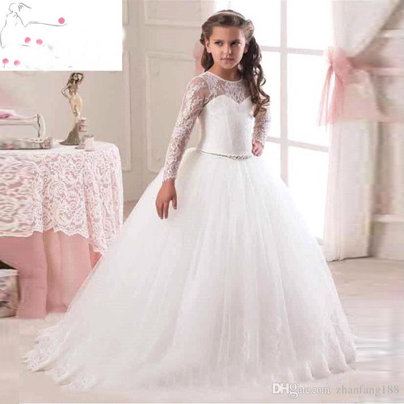 2019 Moda Hot Sale manga comprida vestidos da menina de flor para casamentos Lace Primeiras Comunhão Vestidos para meninas Pageant Vestidos Branco Marfim