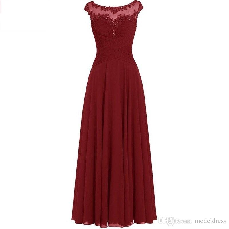 2019 New Burgundy Bridesmaid Dresses Sheer Neck Appliques Beads Long Chiffon Beach Maid Of Honor Wedding Guest Party Gowns Cheap Custom