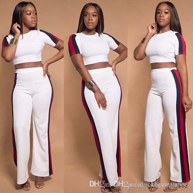 232e241b34c 2019 Europe Sexy New Short Sleeve T Shirt Wide Leg Trousers Suit Plus Size  Summer Spring Autumn Girl Women White Two Piece Pants Sets From ...