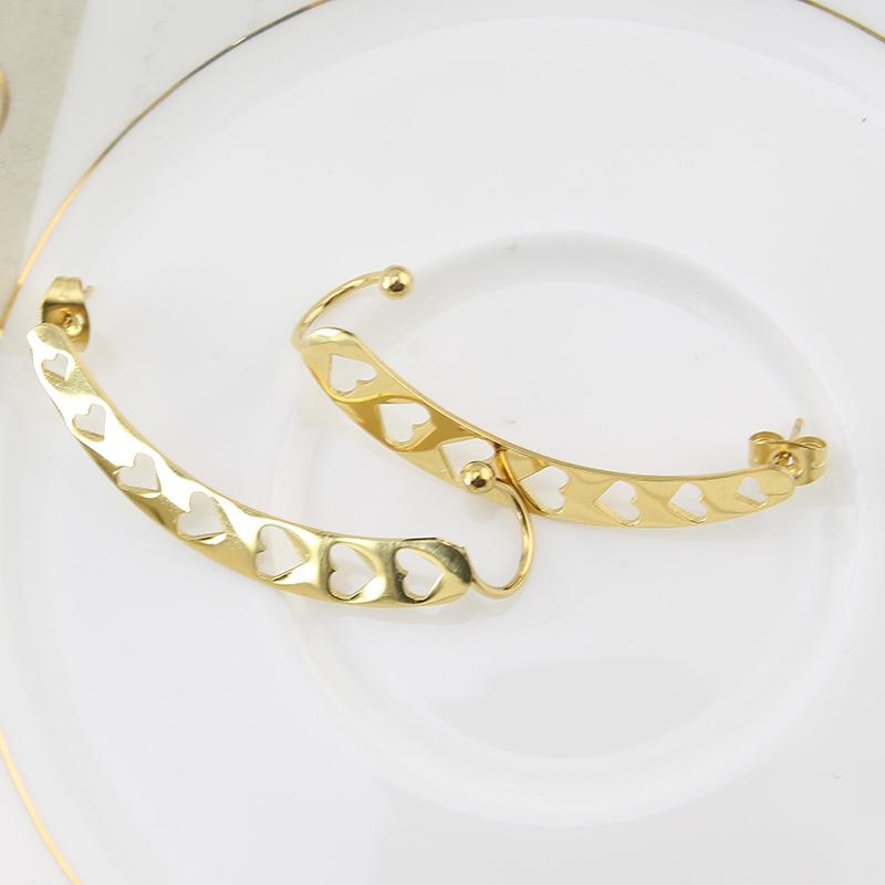 Gold Color Fashion Ear Cuff Earring Hollow Out Heart Shape Pin Piercing Earrings Studs Upper Ear Studs Jewelry