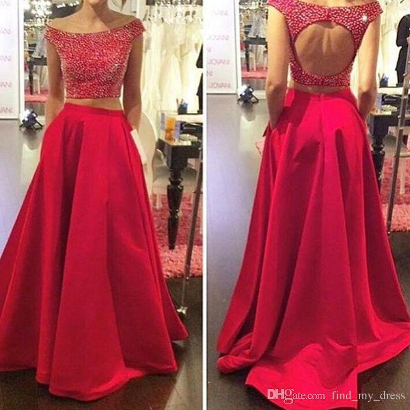 Neue kommende rote Abendkleid mit Taschen glitzernden zweiteilige Abendkleider aus Schulter Perlen Satin A-Linie Party Kleider Kristall nach Maß