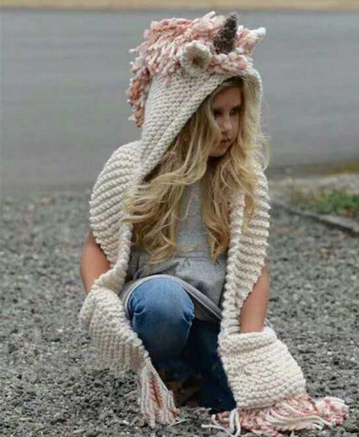 DHL New Crochet Cartoon Unicorn Winter Hat with Scarf Hooded ... 9008e8ef95e5