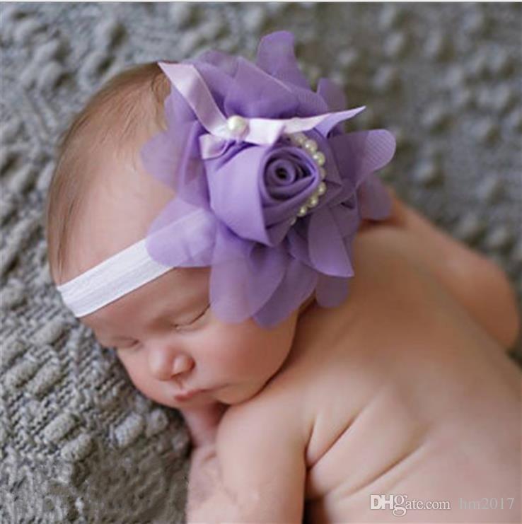 Lindo recién nacido flor diadema Pearl Rose accesorios para el cabello de la flor Elástico sombreros accesorios fotográficos