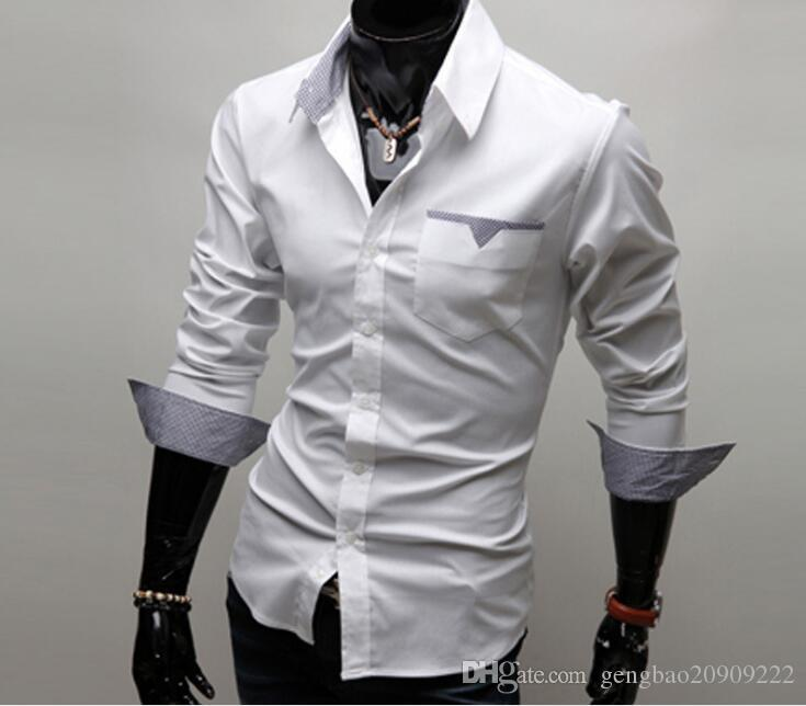4c554265737b 2019 2015 Men'S Fashion Solid Color Shirt Autumn Spring Male Long Sleeved  Casual Shirts Turn Down Collar Slim Fit From Gengbao20909222, $10.46    DHgate.Com