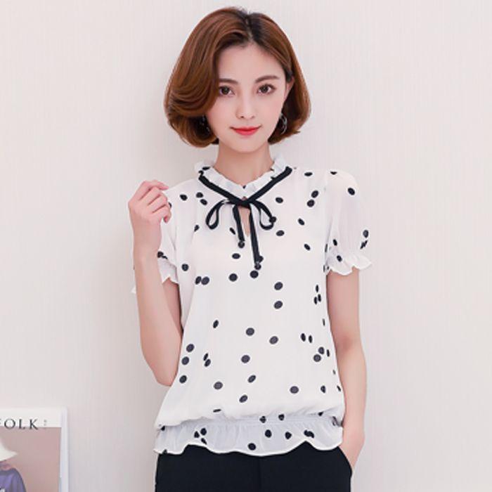 2660acaf0ce462 2019 Summer New Chiffon Shirt Short Sleeve Blouses 2017 Stand Collar Polka  Dot Printed Shirts Plus Size Blouse Women Blousa S 4XL From Micheala_shop,  ...