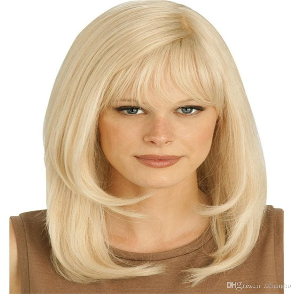 Full Lace Wigs Color blonde Full Lace Human Hair Wig Senior silk Long Wavy Brazilian Virgin Hair 100% With Bangs For women Color 22# kabell