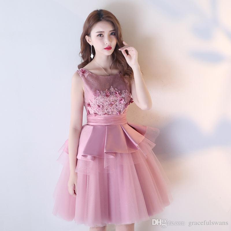 Scoop A Line Lace Prom Dresses 3d Flowers Pleats Peplum Elegant ...
