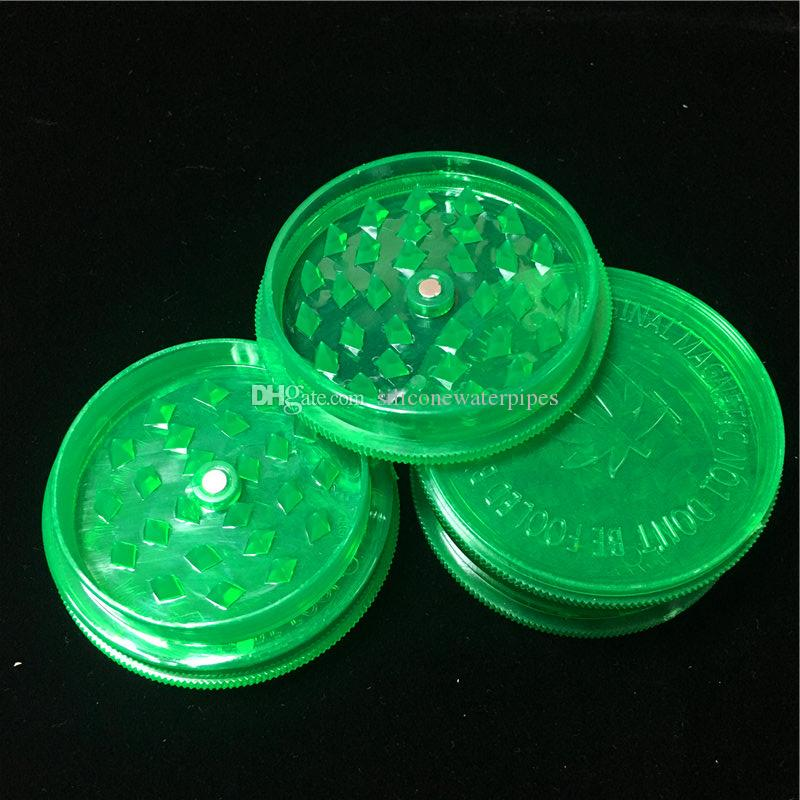 Cheap 2.63 pollici acrilico verde dell'erba Grinders 3 parti in plastica Erba Grinders Smoke Herb Grinders Fress World Wide jj