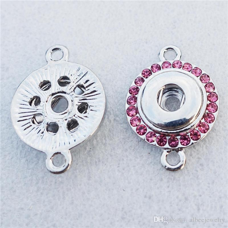 Mix Colors DIY Jewelry Accessories Noosa Chunks Metal Ginger Rhinestone 12mm Snap Buttons Connector Findings For Bracelet