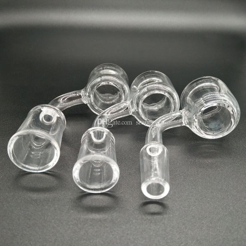 Juego de 2 XXL Quartz Thermal Banger + tapa de carb de vidrio coloreado 10mm 14mm 18mm Doble tubo de cuarzo Thermal Banger Nail