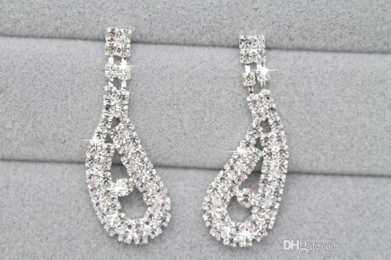 Fashion Crystal Necklace & Earring Jewelry Set Wedding Bridal Prom Cocktail Evening party Jewelry Set Rhinestone Stud Earring Necklaces