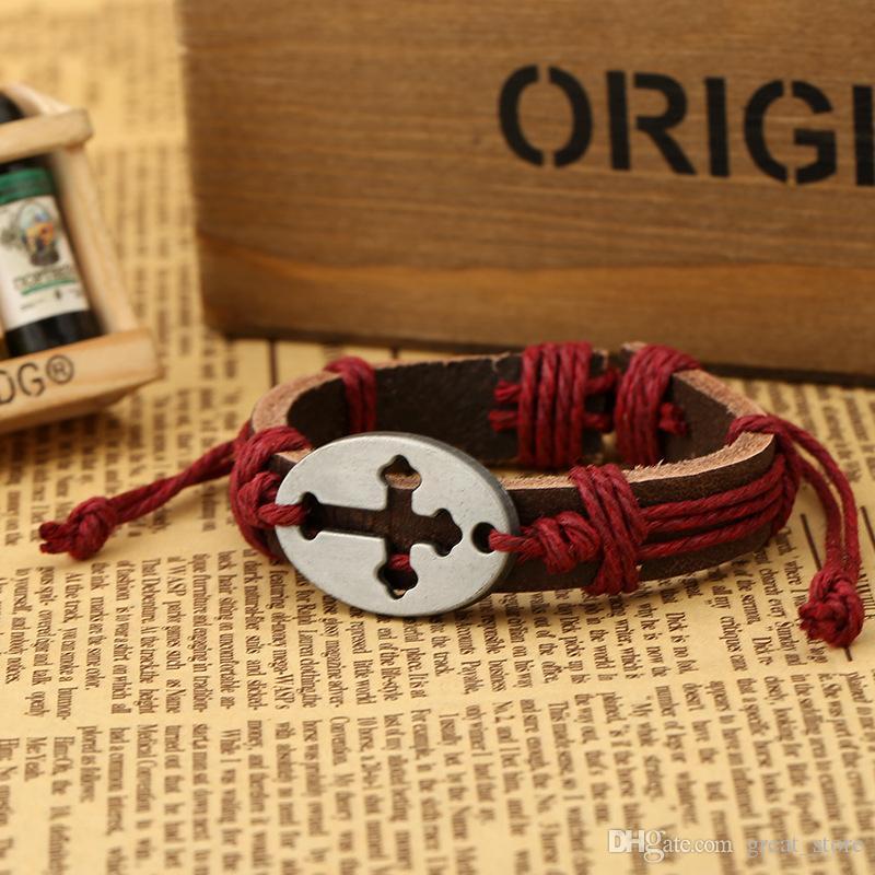 Marque nouvelle Creux Croix Poitrine En Cuir Bijoux Punk En Cuir Bracelet FB424 ordre de mélange 20 pièces beaucoup Slap Snap Bracelets