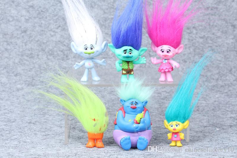 2017 Trolls Figuras de Acción Juguetes Poppy Rama Biggie PVC Coleccionables Muñecas Figuras Modelo Juguetes Al Por Mayor 6 unids por Set