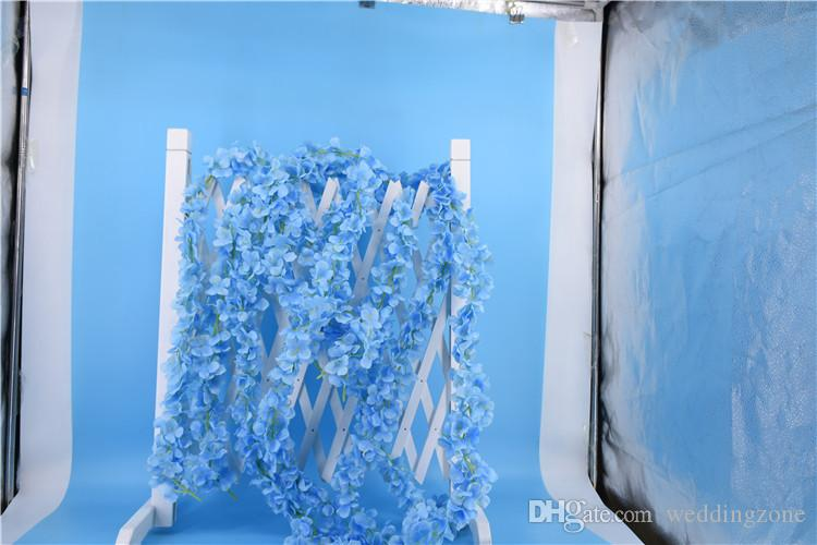 Top Quality Artificial Orchid Wisteria Vine Flower 79 Inch[2M] Silk Orchid Wreaths For Wedding site layout