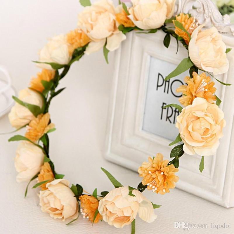 Frauen Hochzeit Haarschmuck Braut Blumen Kranz Stirnband Geschenke Party Dekoration Blume Krone Koreanische Mädchen Girlanden