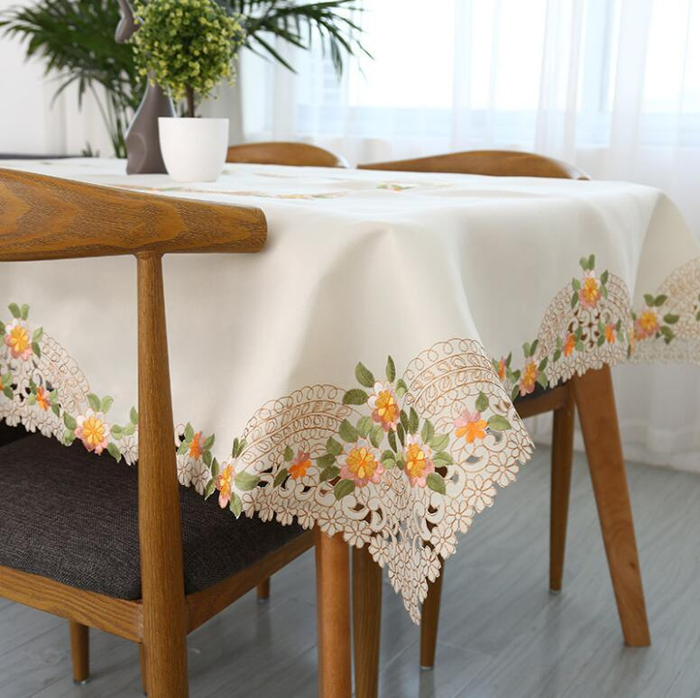 European Satin Embroidery Table Cloth/ Fashion Pastoral Decorative  Tablecloth/ Modern Home Furnishing Square Table Cloth 120 Round Tablecloths  Summer ...