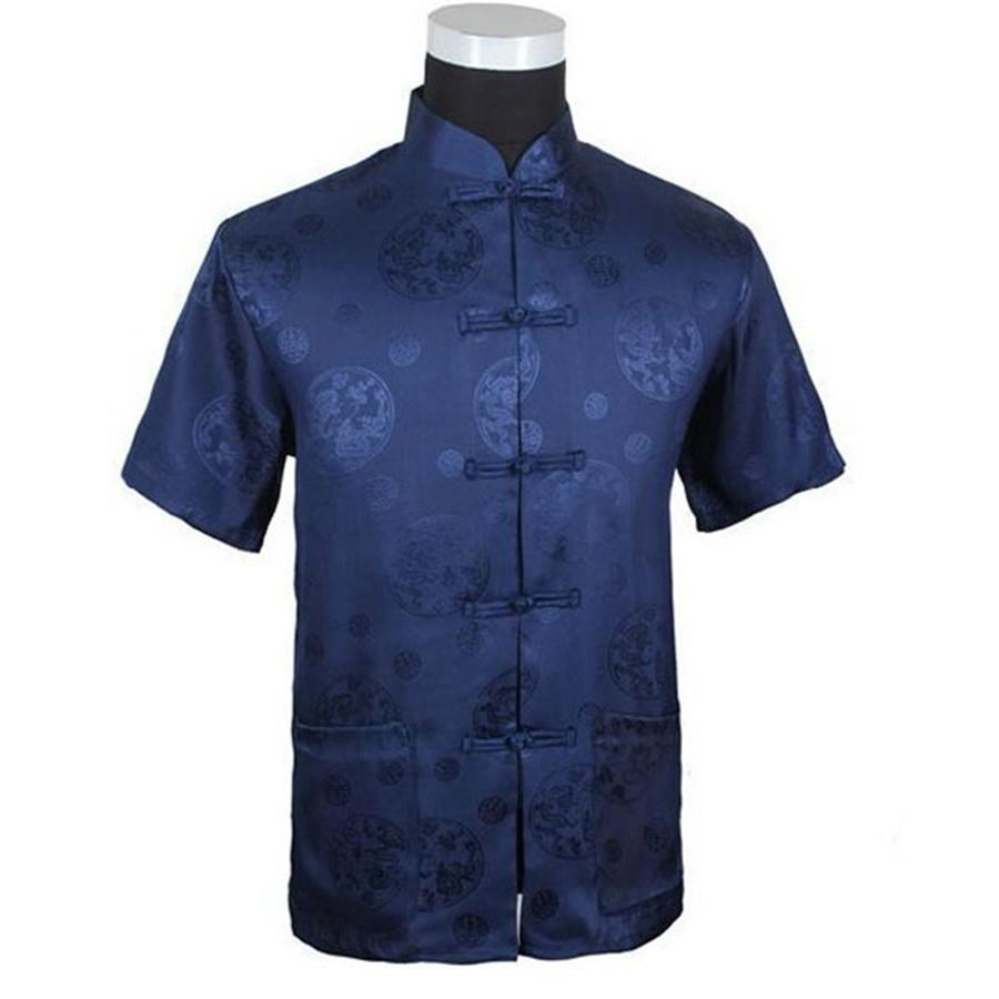 ab5c75e95ae 2019 Wholesale Dark Blue Summer Chinese Men S Silk Satin Kung Fu Shirt Top  With Dragon Size S M L XL XXL XXXL M2066  From Regine