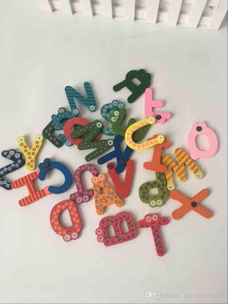 Wooden alphabet fridge puzzle educational toys english alphabet cartoon magnet paste home accessories
