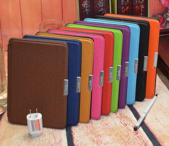 Wholesale- original luxury pu leather cover case for amazon all-new kindle  paperwhite 300 ppi ereader 2015 touch screen screen protector