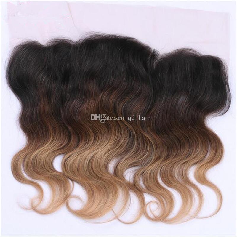 Темный корень #1b/4 / 27 волны тела пучки волос с кружевом фронтальной 13x4 уха до уха кружева фронтальная с медом блондинка наращивание волос