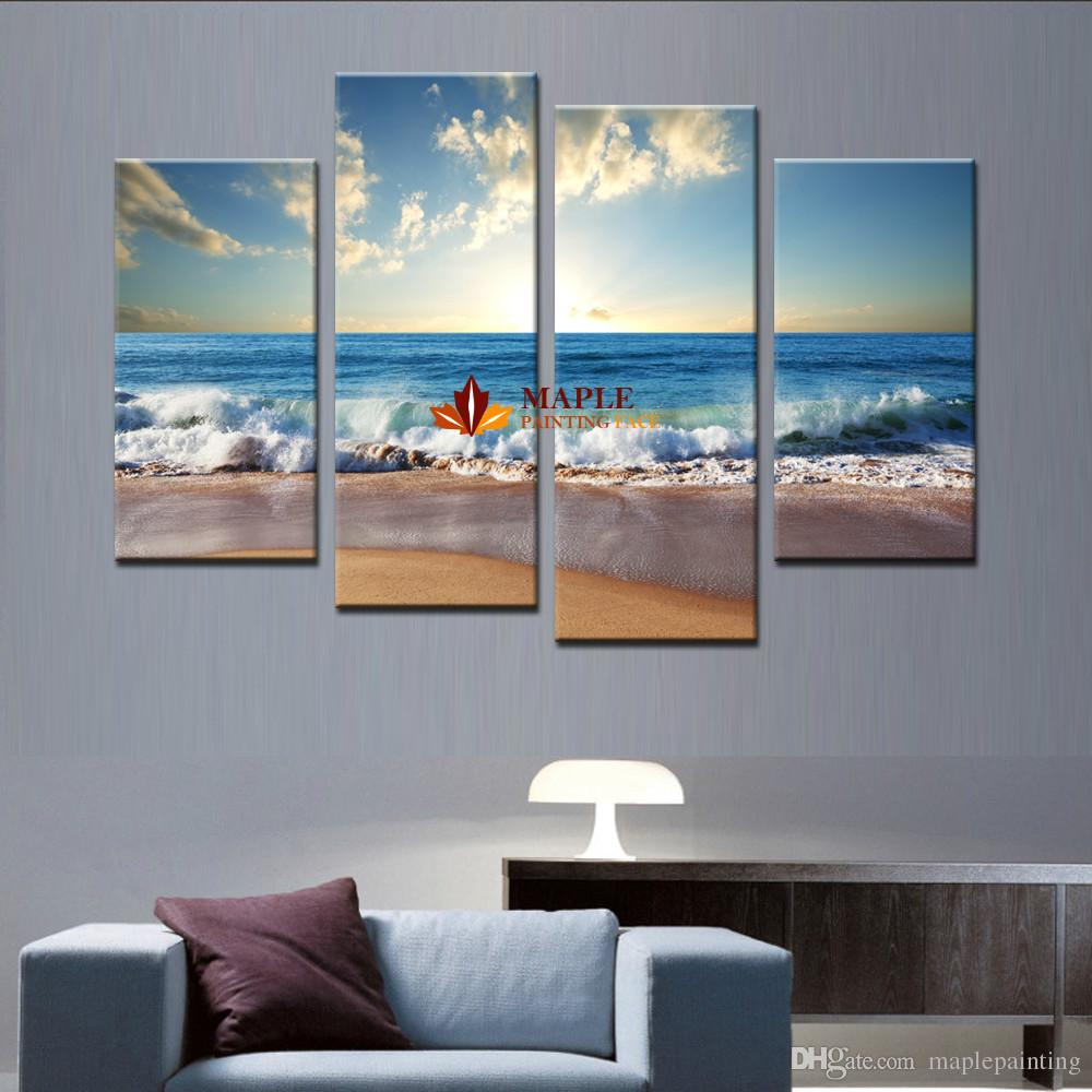 Large canvas art wall hot beach seascape modern wall for Large artwork for sale