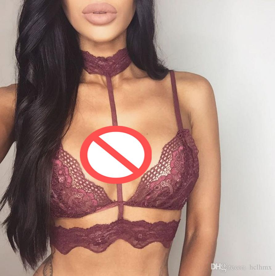 2017 Choker Cage Bra Triangle Sheer Lingerie Sexy Strappy Halter ...